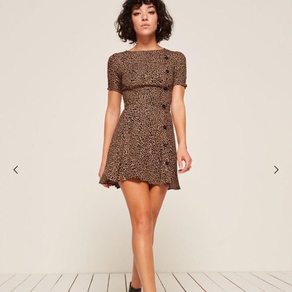 d5c9ac6353 Reformation Katie Dress Leopard. M 5b71ebe01b16dbeb391e26e8
